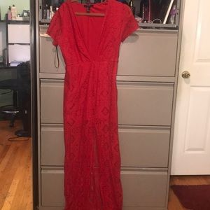 Red long dress with a slit